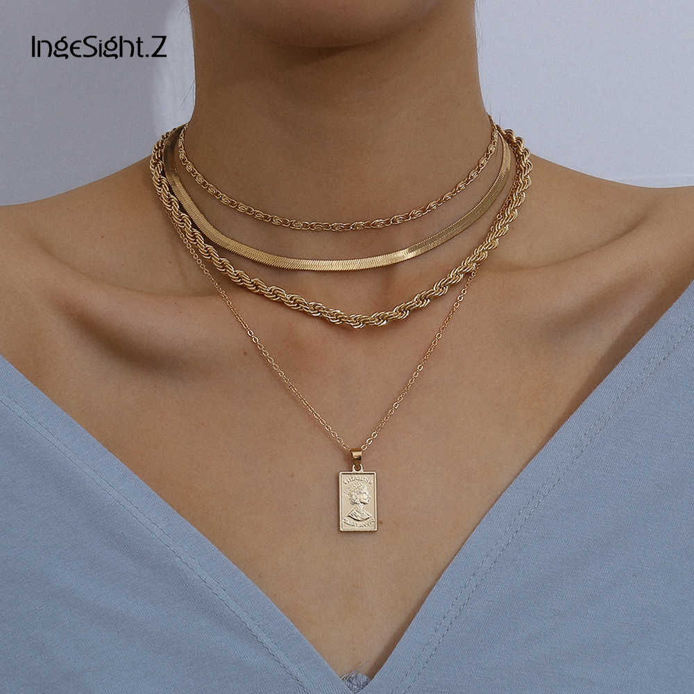 Ingesight. Z 4 Stks/set Multi Layer Twisted Metal Touw Ketting Choker Ketting Vintage Gesneden Coin Portret Hanger Kettingen Sieraden
