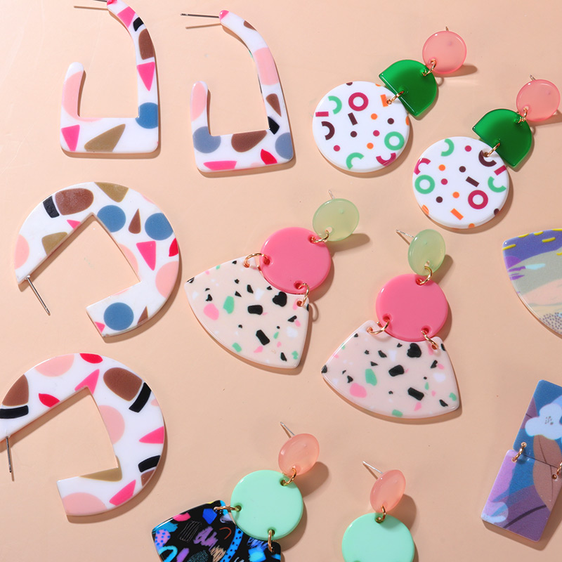 Fashion Korean Acrylic Colorful Irregular Earring for Women Geometric Round Cute Graffiti Dangle Earrings 2020 Hot Party Jewelry