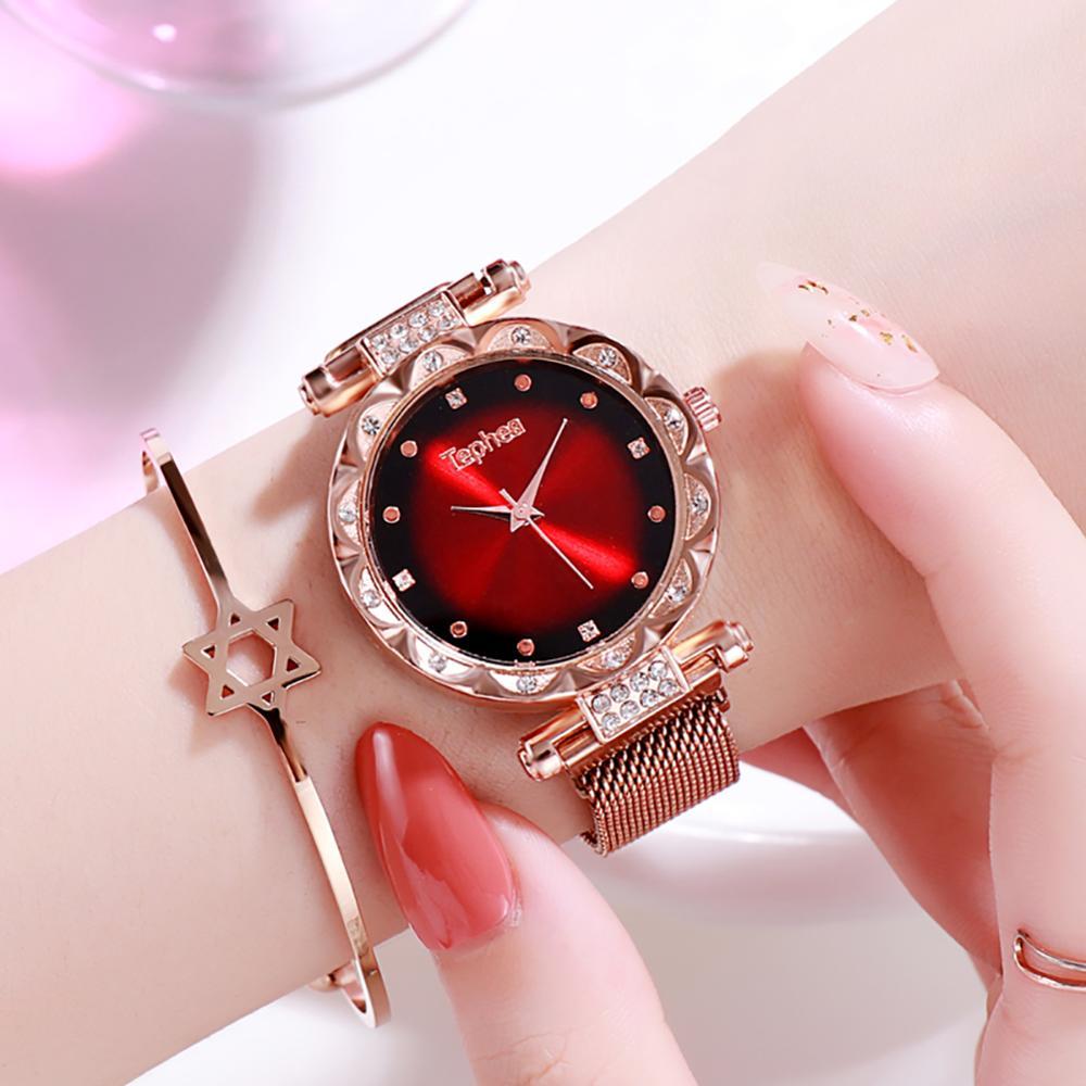 Relógios femininos de luxo 2019 senhoras rosa ouro relógio céu estrelado magnético à prova dwaterproof água relógio pulso feminino relogio feminino reloj mujer