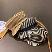 202101-shi new spring summer fine paper grass weave striped leisure  Octagonal hat men   women  visors cap
