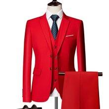 (Blazer + calças + colete) clássico masculino formal terno de negócios fino azul real do casamento noivo usar terno masculino preto traje dos senhores M-6XL