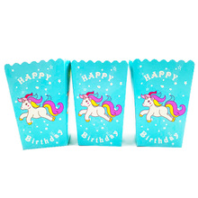 10pcs Unicorn popcorn cups kids birthday party supplies paper happy