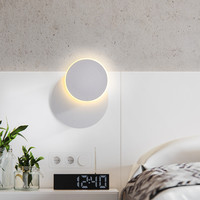Modern Wall Light LED 360 Degree Rotation White Round LED Sconce Bedside Wall Lamp Bathroom Mirror LED Light Reading Lamp
