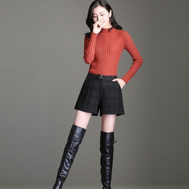 2020 New Autumn High Waist Plaid Casual Shorts Women Korean Fashion Large Size M-4XL A-Line Wide Leg Shorts Lady Winter Clothes