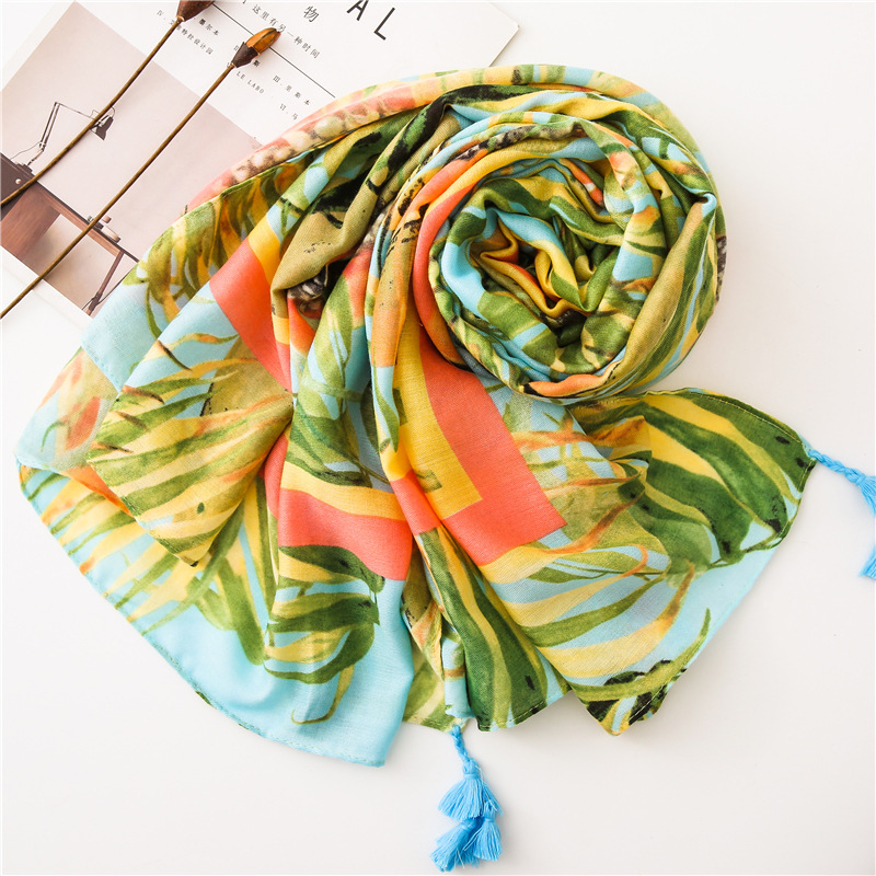 2019 green plant printing scarf for women summer spring beach shawl for ladies tropical style ponchos capes infinity head scarf in Women 39 s Scarves from Apparel Accessories