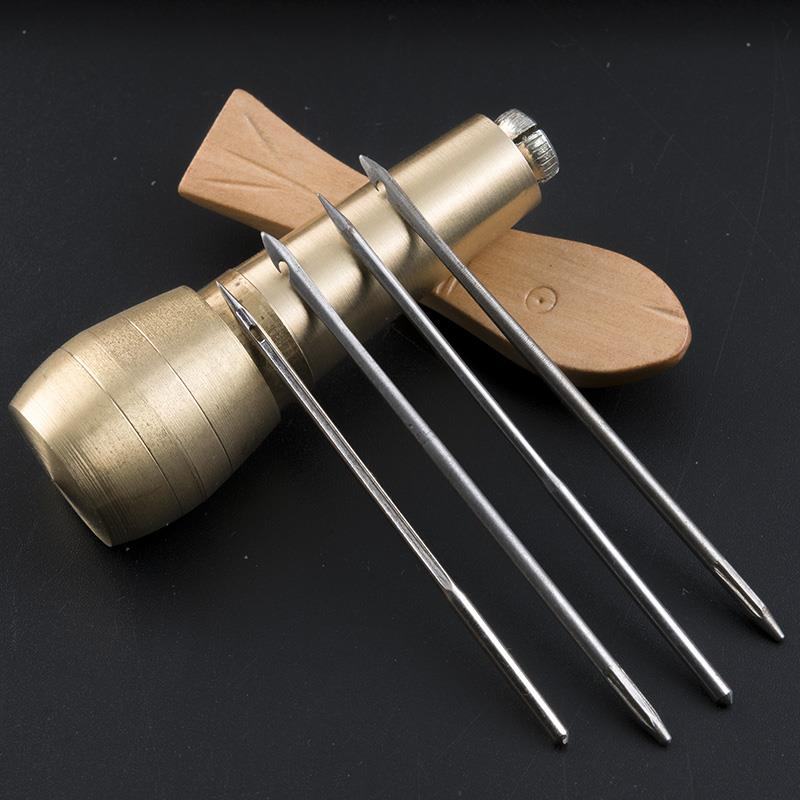 MIUSIE 1Pcs Canvas Leather Tent Shoes Sewing Awl Taper Leather Craft Needle Kit Repairing Tool Sets Hand Stitching