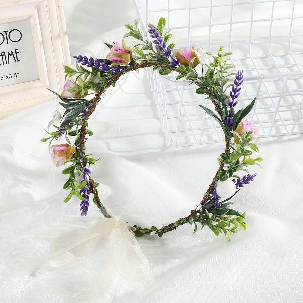 Haimeikang Princess Wedding Hair Crown Ladies Seaside Flower Wreath Headwear Fashion Flower Crown Ribbon Bow Hair Accessories