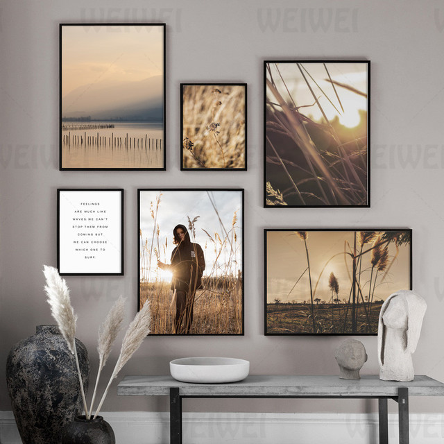 Herbst Landschaft Hause Dekoration Malerei Sonnenlicht Durch Pflanzen Wohnzimmer Wand Leinwand Kunst Poster Reed Figur Buchhandlung Drucken