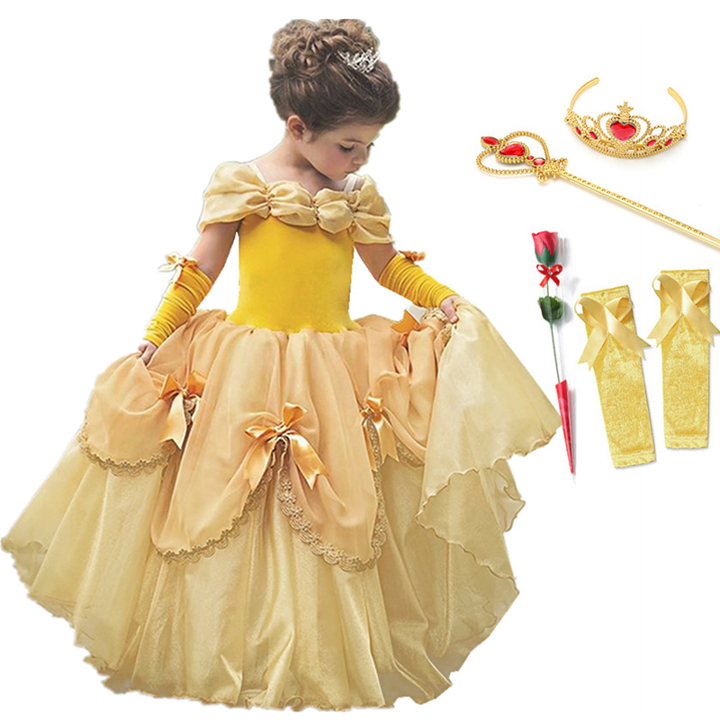 Princess Belle Dress For Girl Costumes Kids Floral Ball Gown Child Cosplay Bella Beauty And The Beast Costume Fancy Party Dress