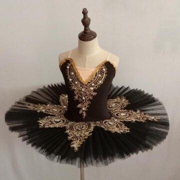 Женское танцевальное платье-пачка Лебедь с золотым кружевом платье балетное для девочки