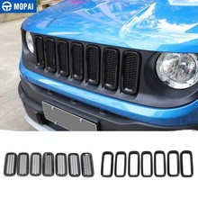 Mopai corrida grills para jeep renegado 2015 + grade dianteira do carro decoração capa adesivos para jeep renegado acessórios do carro estilo