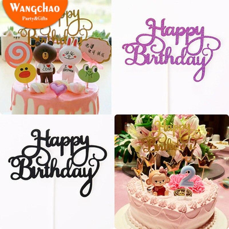 グリッター紙レターhappy birthdayケーキトッパーパーティーの装飾子供好意カップケーキトッパー誕生日パーティー用品 5 色