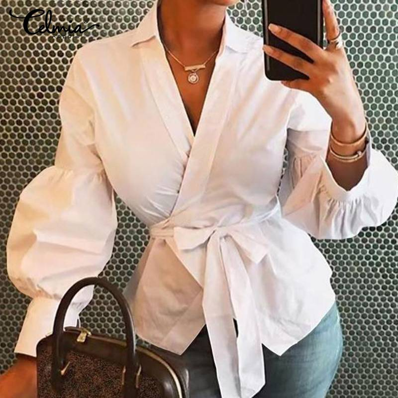 Celmia White Lantern Sleeve Peplum Tops Women Blouses 2019 Autumn Sexy V-neck Belted Casual Loose Solid Shirt Tunic Blusas Mujer