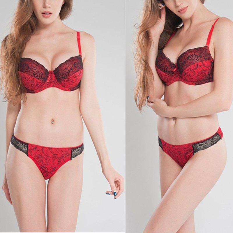 Push Up Bra Set Women Health Big Size Lace Underwire Bra & Brief Sets Sexy Lingerie Panty Female Underwear D E Cup  K