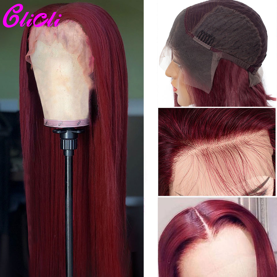 13X4 Ombre 99j Lace Front Wig Human Hair Straight PrePlucked Brazilian Remy Colored Human Hair Wigs 99j For Women 150% Density