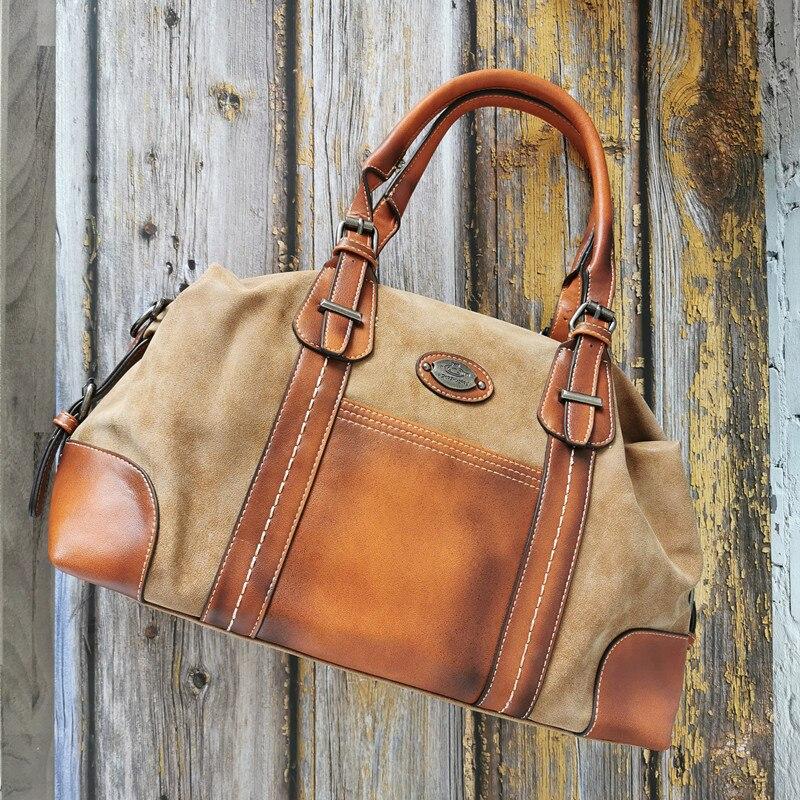 Large Capacity Women Handbags Boston Genuine Leather Bag Female Shoulder Travel Bags Designer Bags Famous Brand Women Bags 2019