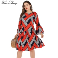 5XL Plus Size Casual Dress Women Long Sleeve Plaid Striped Print Patchwork Midi Dress Red Ladies Tunic Ruffles Beach Dresses