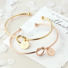 2019 Fashion 26 Letter Initial Alloy Knot Heart Name Bangles Bracelets For Women Girl Charm Round Pendant Jewelry Best Gifts