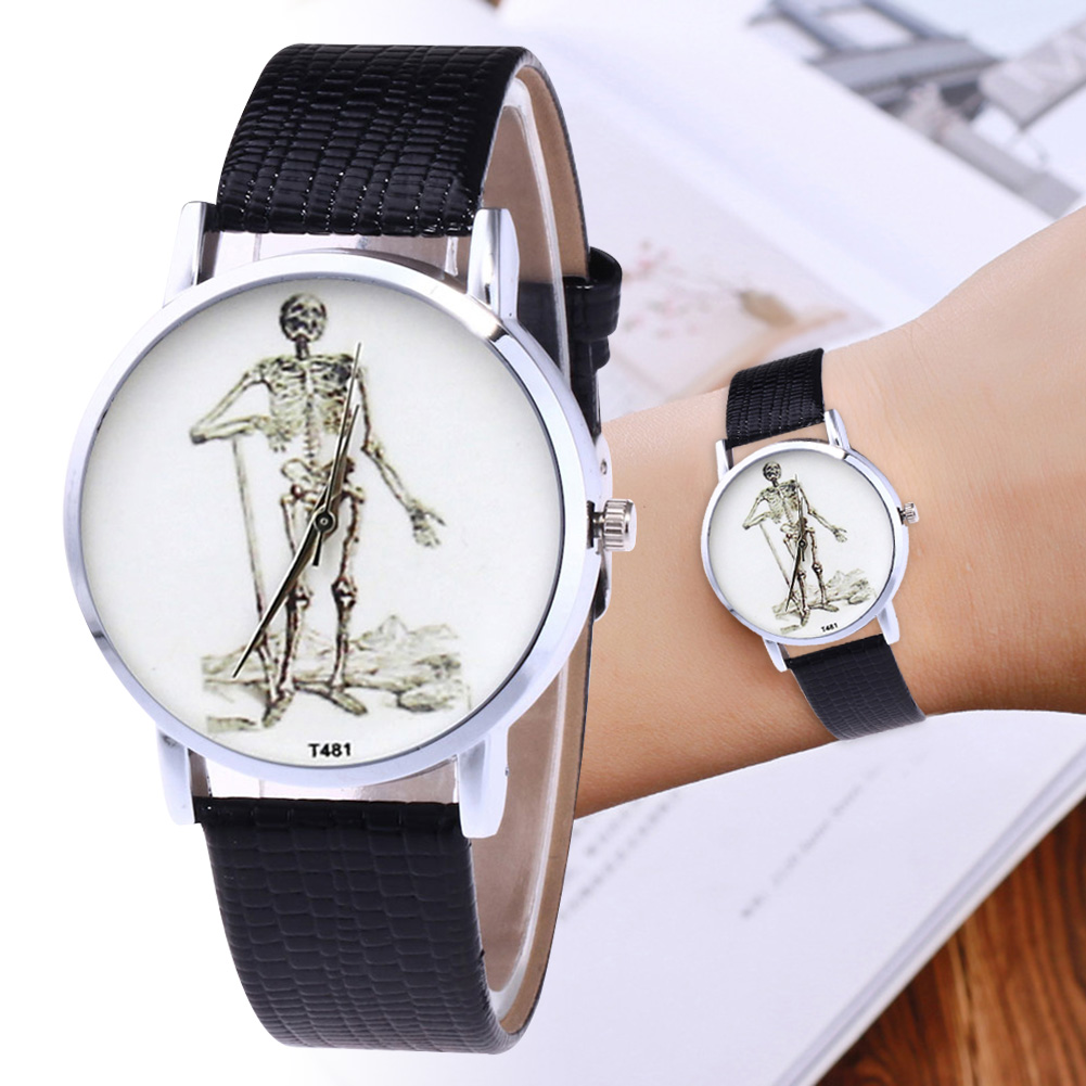 Fashion Quartz Watch Mens Womens Couple Electronic Watch Printed Skeleton With PU Wrist Band LL@17