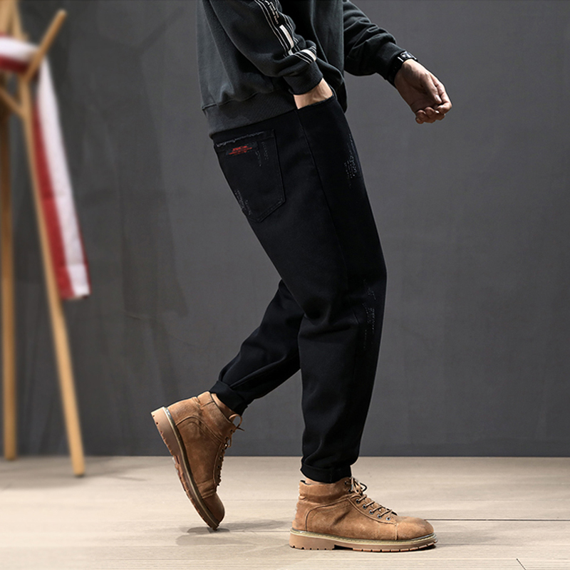 Korean Fashion Men Jeans Vintage Designer Loose Fit Black Harem Pants Tapered Trousers Streetwear Hip Hop Jeans Men Pencil Pants
