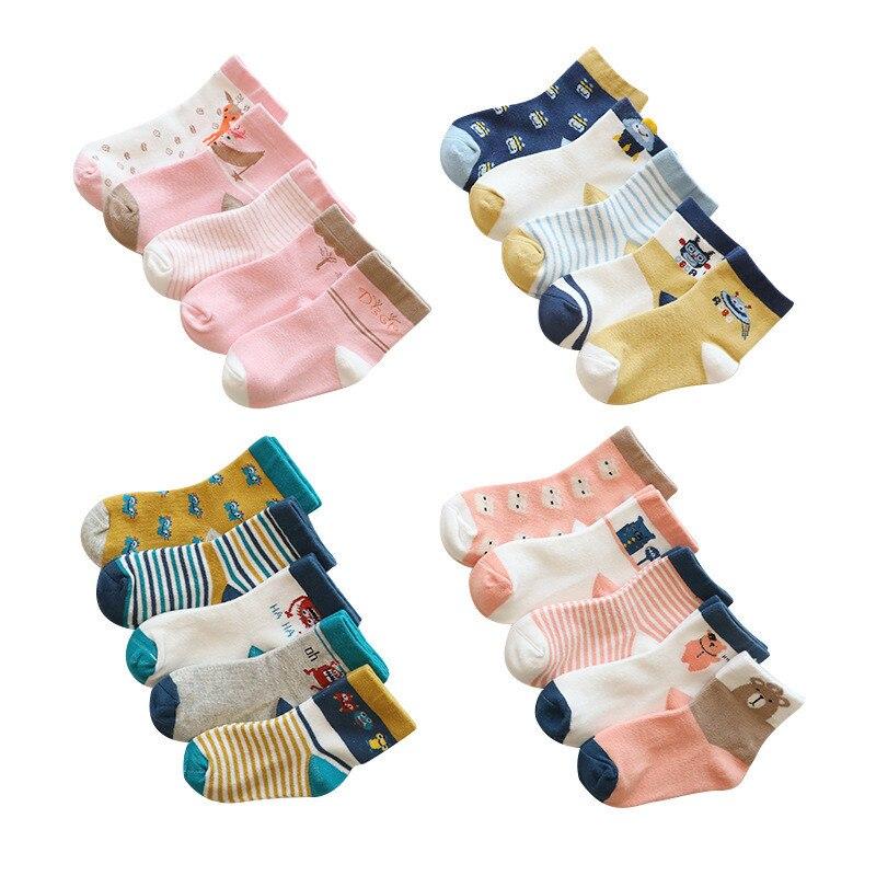 5Pairs/lot Kids Girls Socks Cotton Socks For Boy Autumn Winter Socks For Girls Cartoon Children's Socks For Boys 0-8Years