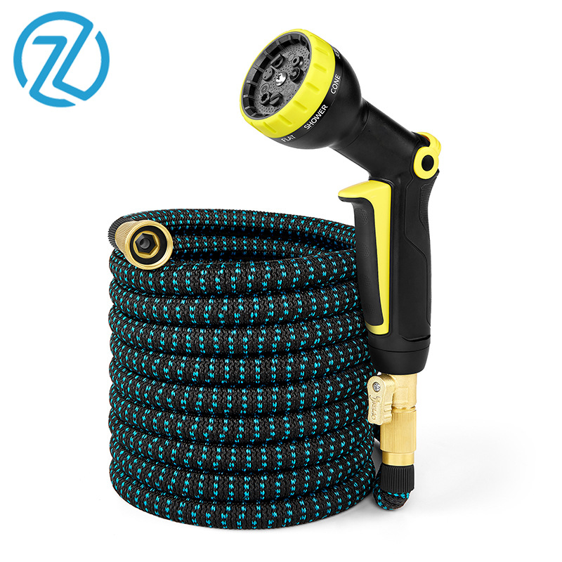 Amazon Water Gun Pack Garden Hose Copper High Pressure Vehicle Cleaning Telescopic Pipe Household 3 Times Garden Hose