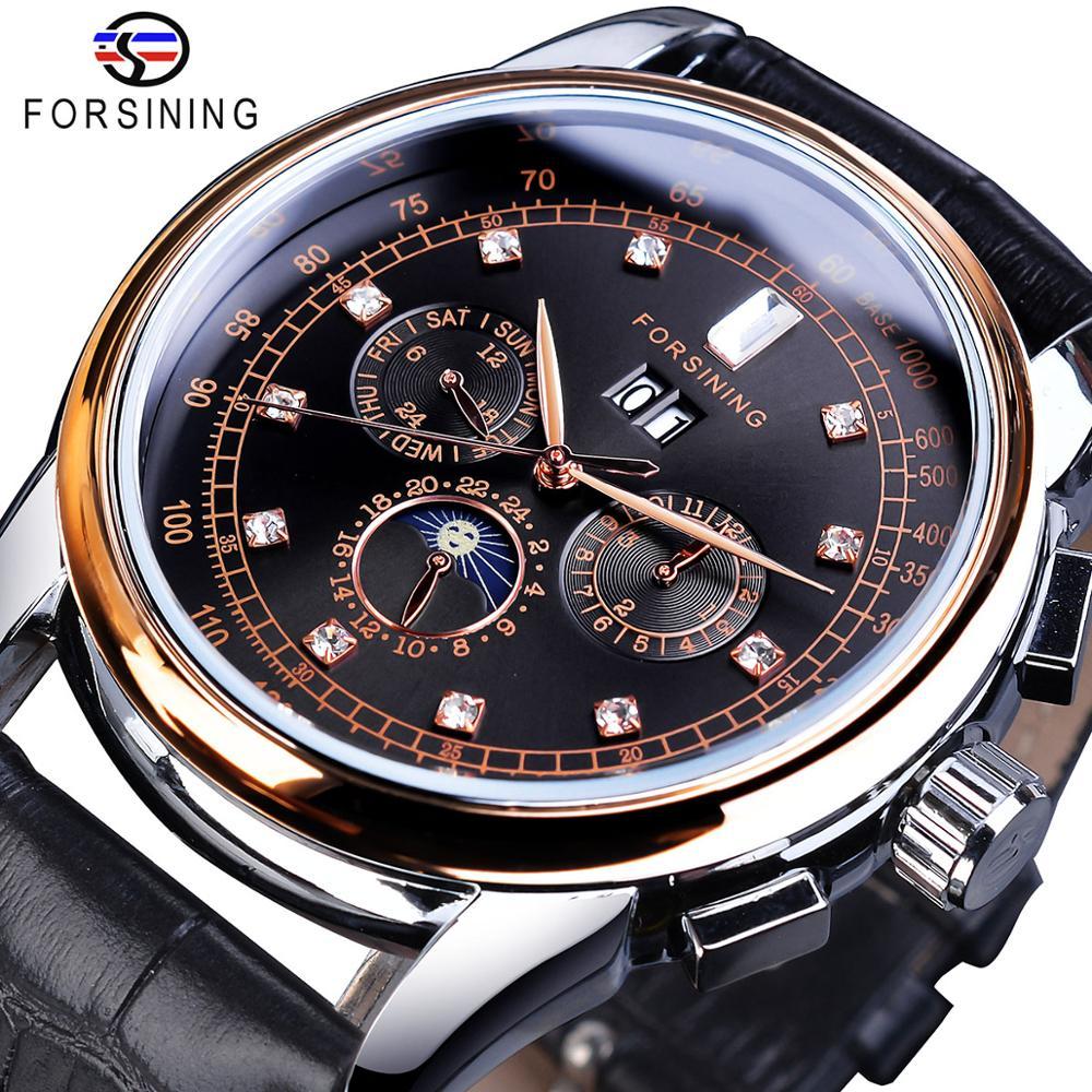Forsining – montre bracelet en cuir pour hommes, marque de luxe, diamant mécanique, automatique, bracelet en cuir, calendrier, lune, Phase, semaine, horloge | AliExpress