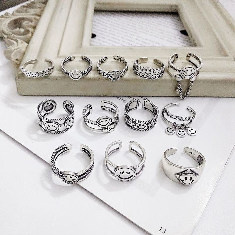 Silvology 12 Style Smile Face Rings Sterling 925 Silver Vintage Chain Weave Smiley Series Creative Rings For Women Cute Jewelry