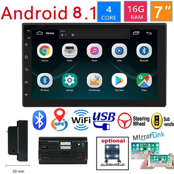 2 Din Android 8.1 Car Multimedia Player Car Radio Bluetooth Mp5 Player Multimedia Player Autoradio Support Rear View Camera image