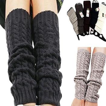 Moda damska zimowe dzianiny szydełkowe ocieplacze do nóg z dzianiny Legging skarpety do kolan tanie i dobre opinie CN (pochodzenie) Stałe WOMEN Getry Poliester Akrylowe 5409