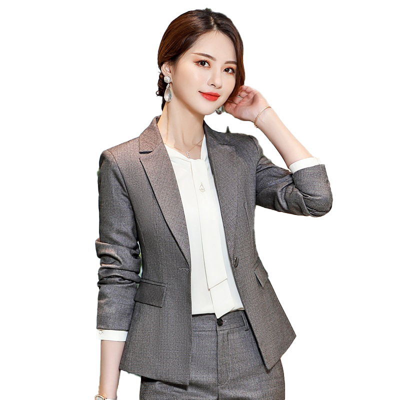 Elegant Formal Office Work Wear OL Women Pant Suit Set Solid Suit Jackets And Trousers 2Piece Sets Business Hotel Interview Wear