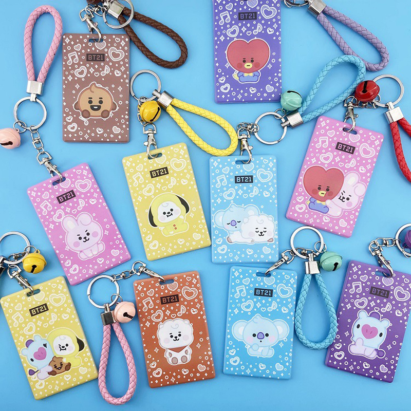 Plastic Card Sets Keychain Women Men Bus Cards Holder Case Pouch Bag Holders Lanyard Key Chains Cute Bell Pendant Keyrings