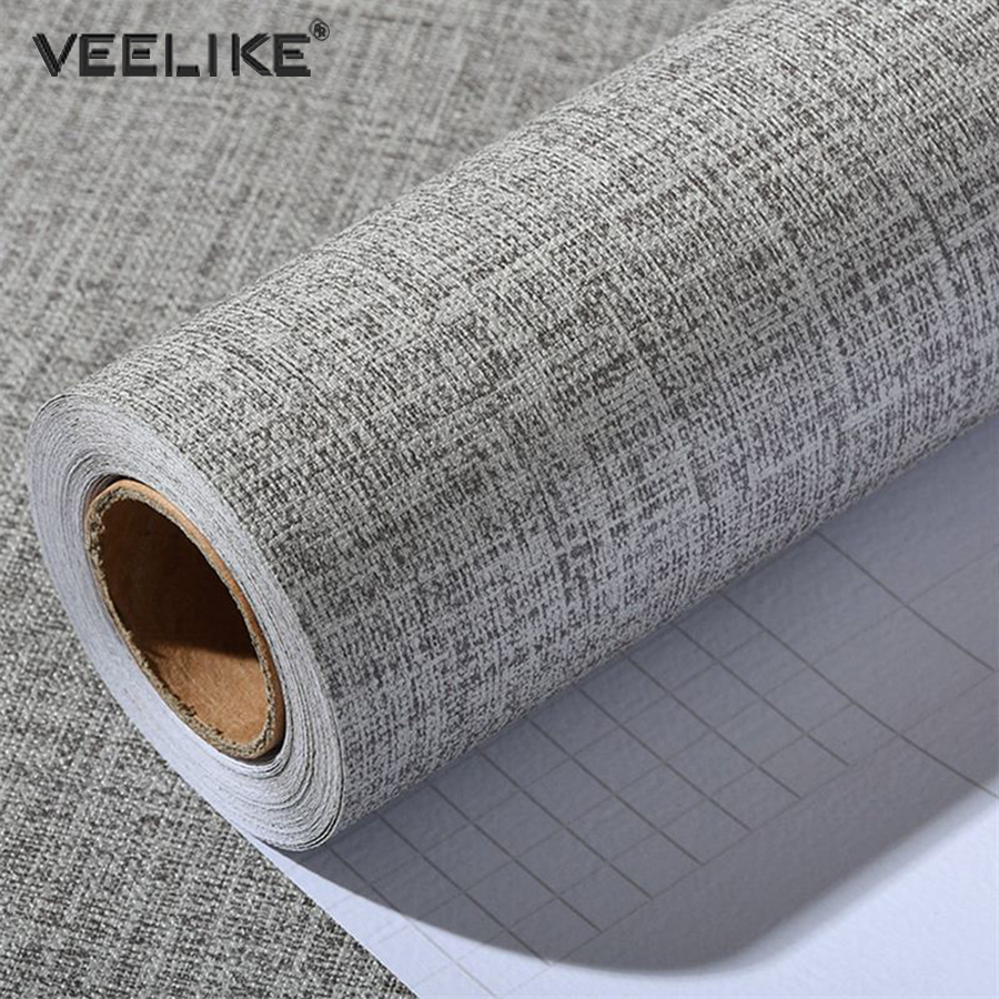 Linen Vinyl Contact Paper Kitchen Dining Table Home Decor Self Adhesive Wallpapers Bedroom Living Room Waterproof Wall Stickers