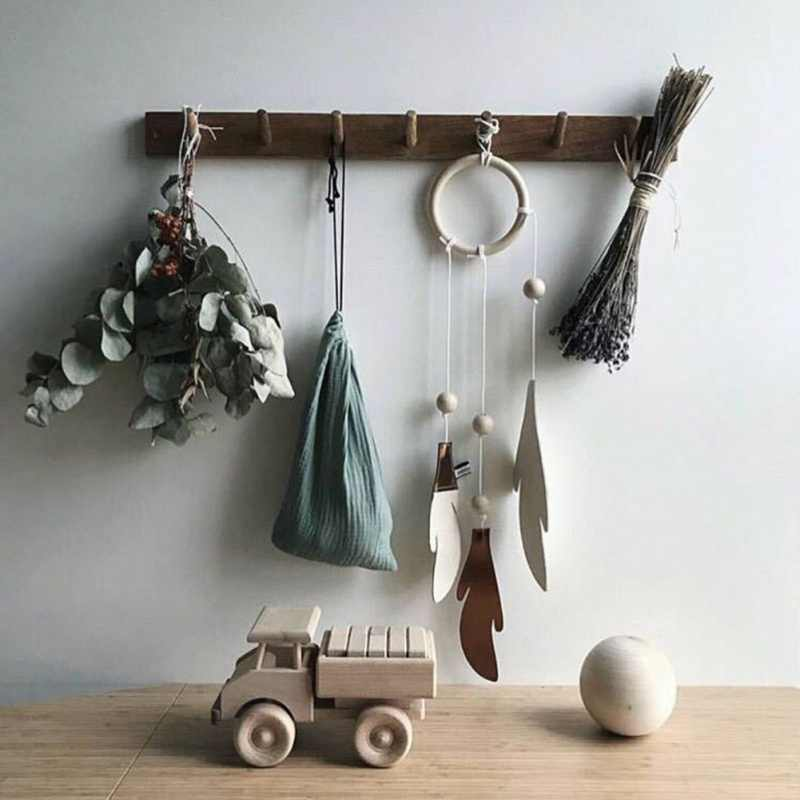 Nordic สไตล์ไม้ใบจี้ Handmade Dreamcatcher WIND Chimes สำหรับแขวนผนังแขวนเด็กตกแต่งห้อง