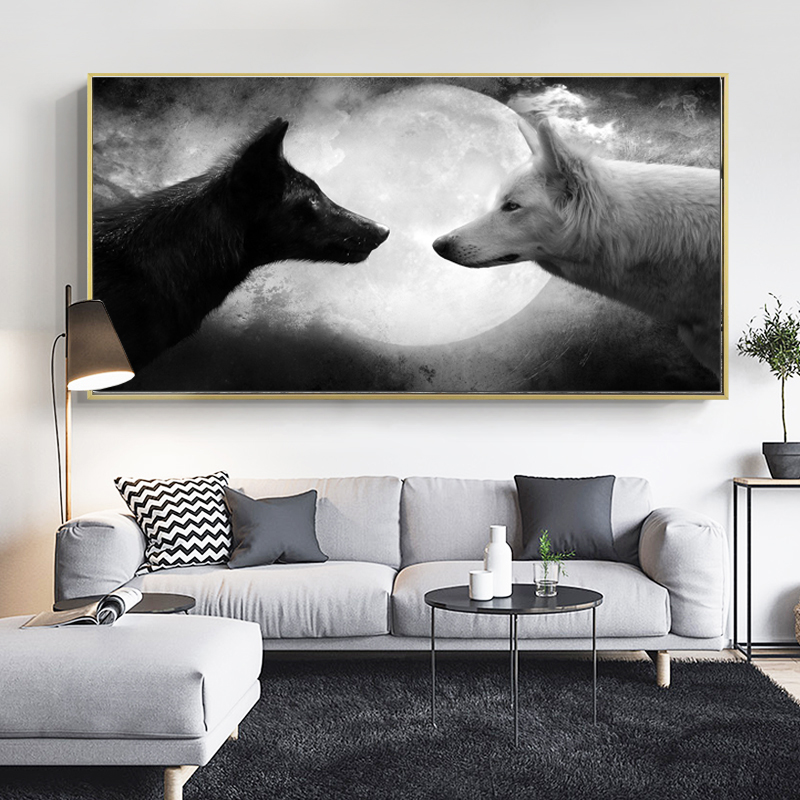 SELFLESSLY Black And White Wolf And Moon Canvas Painting Wall Art Posters Prints For Living Room Decorative Pictures Unframed