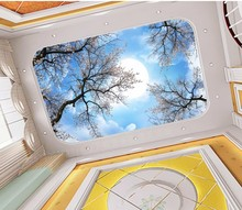 Cherry blossom tree moon sky ceiling background wall Ceiling Wallpaper Murals Living Room Bedroom Ceiling Mural Decor