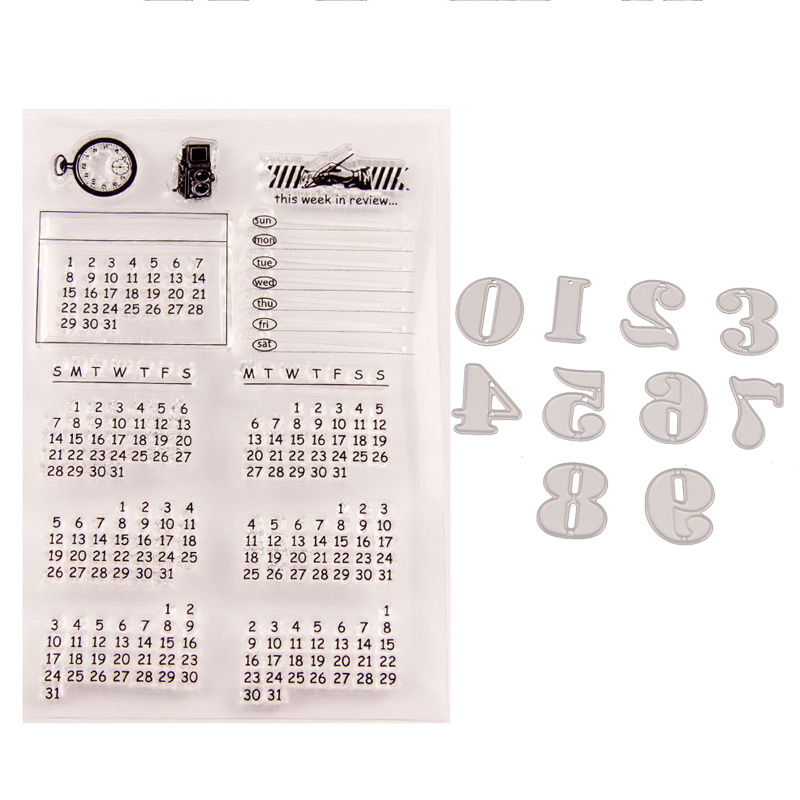 WYSE Calendar Number Letter Clear Stamps Metal Cutting Dies Transparent Silicone Stamp With Die Set For DIY Scrapbooking Card