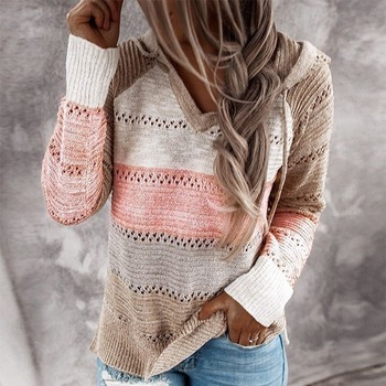 2020 Autumn V Neck Patchwork Hooded Sweater Women Casual Long Sleeve Knitted Sweater Top Winter Striped Elegant Pullover Jumpers twist front v neck striped top