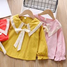 Kid Long Sleeve Shirt Turn-down Collar Baby Girl Blouse Pink Girls Blouses Toddler Girls Shirts Tops and Blouses Kids Wear