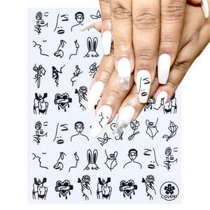 Face Strip Nail Art Stickers 3D Sliders For Nails Line Love Heart Adhesive Wraps Rose Letters Tattoo Tips Decorations BECB-197(China)