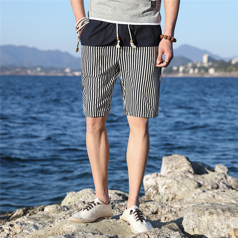 Men's Shorts Striped Tracksuit Male Home Casual Trunks Pyjama Very Thin Casual Ethnic Style Printed Loose Linen Beach Shorts Men