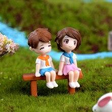 3 unids/set DIY Mini taburete parejas de muñecas de hadas miniaturas de jardín, decoración de casa de muñecas/terrario figuras de acción figura Micro paisaje