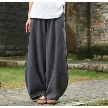 chinese pants Autumn Solid Color Pockets Loose Pants New Women Vintage Elastic Waist Cotton Linen Wide Leg Full Length Pants