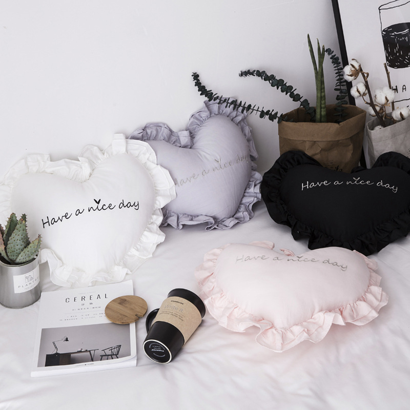 New Style Simple Korean Style Heart Shape Long staple Cotton Fabric Flounced Pillow Bedside INS Cute Back Cushion a Generation o