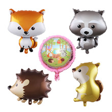 1pc forest animal aluminum film balloon fox hedgehog squirrel cartoon animal  foil balloon birthday party decoration baby shower hot sale forest animals happy daily life squirrel fox deer good friends party fairy cartoon tales pillow case