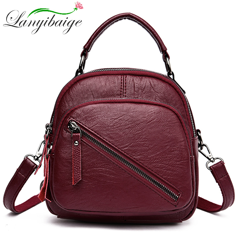 Multifunction Mini Women Leather Backpacks Women Backpack Sac A Dos Ladys Shoulder Bags School Bag For Girls Mochila Feminina