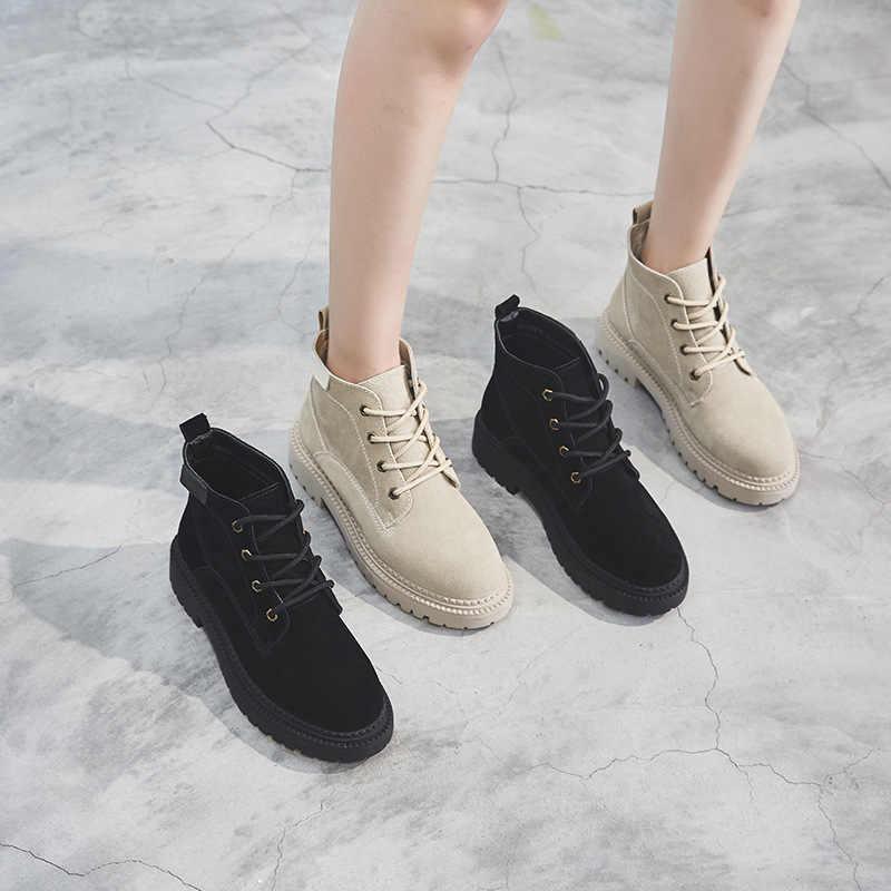 2019 herfst en winter nieuwe Martin laarzen vrouwen Britse stijl lederen comfortabele plus fluwelen warm casual laarzen