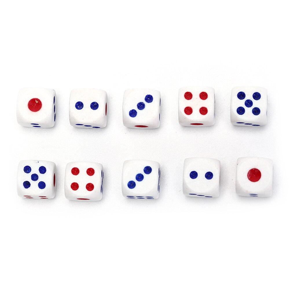 100 шт., 10 мм, высококачественные игральные кости белого и красного цветов, шестисторонние игральные кубики, покерные чипы для ktv, паба Вечерни...
