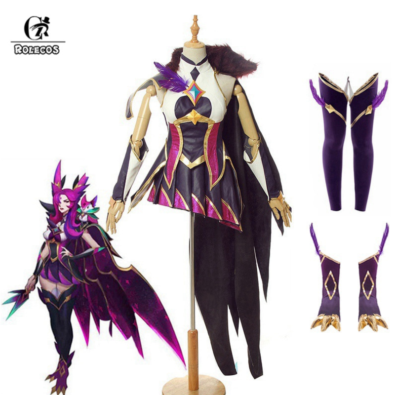 ROLECOS LOL Star Guardian Xayah Cosplay Costume Game LOL Cosplay The Rebel Sexy Costume Shoes Cover Women Dress Halloween Cloak