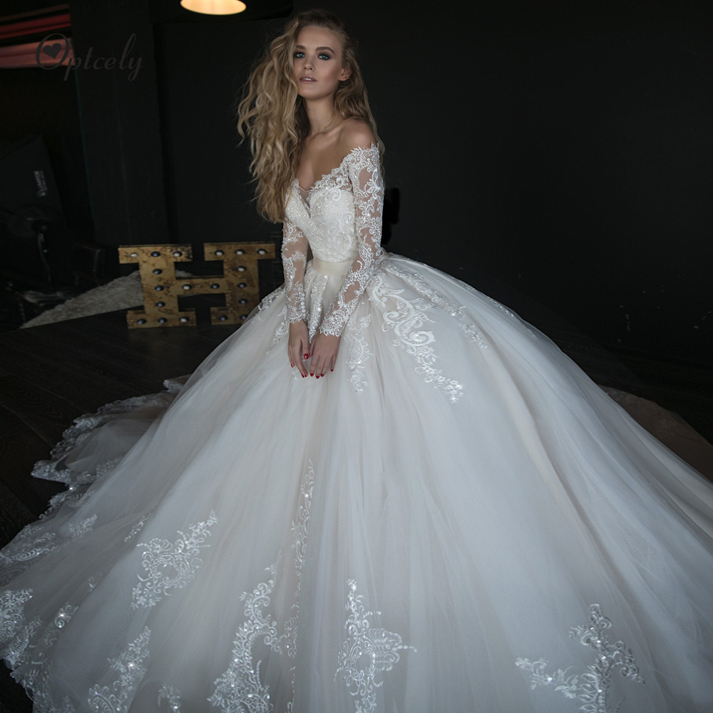 Optcely Charming Deep V- Neck Long Sleeve Ball Gown Wedding Dresses 2019 Train Appliques Beaded Court Train Princess Bridal Gown